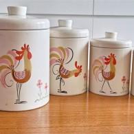 アメリカ ランズバーグ社 RANSBURG 鶏柄の手書きキャニスターセット