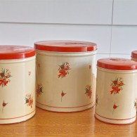 TIN缶 キャニスター4つセット アメリカビンテージ 赤色の蓋に花束柄