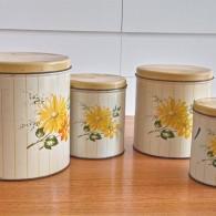 Decoware社 Tin キャニスター入れ子式4つセット 黄色いお花柄