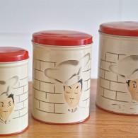 イケメンコックさん柄 ヴィンテージ ティン(ブリキ)缶 3つセット