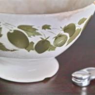 カフェオレボウル その8  Digoin(ディゴアン)製 オリーブグリーン色のフルーツ柄 6