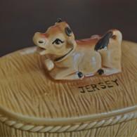 バター入れ 乳牛のつまみ 陶器製 3