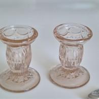 淡いピンクのキャンドルホルダー×2 ガラス製