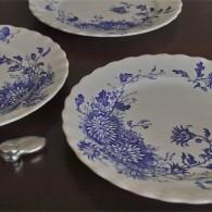 径20センチ 英国 1887-1936年製 ケーキ皿 ブルーのお花柄3枚組 Late Mayers製