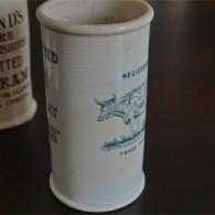 英国 クロテッドクリームボトル グリーン文字 牛柄 ロングサイズ