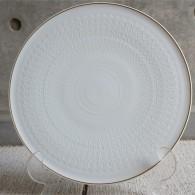 ドイツ ローゼンタール製 ビョルン・ヴィンブラッドデザイン ロマンスシリーズ 径32.5㌢ 白磁に金彩の大きな平皿