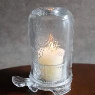 アメリカ MOSSER GLASS (モッサーグラス)製 キャンドルホルダー ヒイラギ柄 11