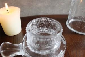 アメリカ MOSSER GLASS (モッサーグラス)製 キャンドルホルダー ヒイラギ柄 8
