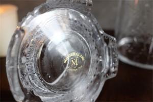アメリカ MOSSER GLASS (モッサーグラス)製 キャンドルホルダー ヒイラギ柄 6