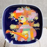 ドイツ ローゼンタールStudio-line製 ビョルン・ヴィンブラッドデザイン 飾り皿 ギター(バラライカ)を弾く女性 13
