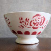 カフェオレボウル その39 フランス サルグミンヌ製 えんじ色のバラ柄