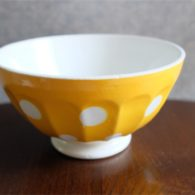 アンティークカフェオレボウル その47 フランス ディゴワン&サルグミンヌ製 「S」の刻印 No.4 黄色の水玉柄