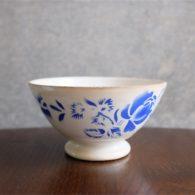 アンティークミニカフェオレボウル その20 フランス DIGOIN(ディゴアン)社製 青い薔薇柄