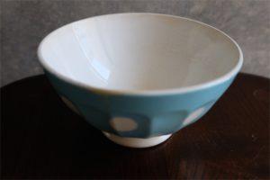 アンティークカフェオレボウル その72 フランス DIGOIN&SARREGUEMINES (ディゴワン&サルグミンヌ)製 古いタイプ スカイブルー色の水玉柄