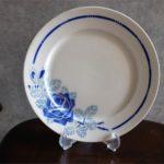 フランス アンティーク badonviller(バドンヴィレー)製 プレート 青い薔薇柄 直径 20.9 ㌢