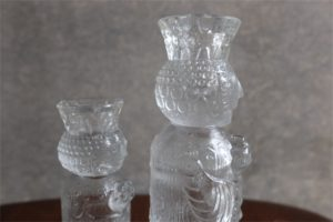 ドイツ ローゼンタール社 クリスタルガラスのキャンドルホルダー像 大小 デザイン:ビョルン・ヴィンブラッド