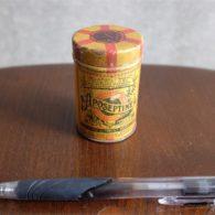 フランス製 筒型小さなアンティークブリキ(TIN)缶 Aposeptine 歯磨き粉or粉石鹸入れ