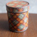 英国製 ミニミニ アンティーク ブリキ(TIN)缶 チェック柄