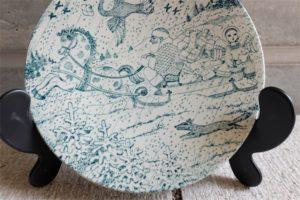 デンマーク NYMOLLE (ニモール窯) Bjorn Wiinblad (ヴョルン・ウィンブラッド/ビンブラッド)デザイン 古い時代の希少なクリスマスプレート 径21センチ