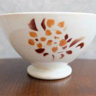 アンティークカフェオレボウル その74 メーカー不明 シックなマロンカラーのお花柄